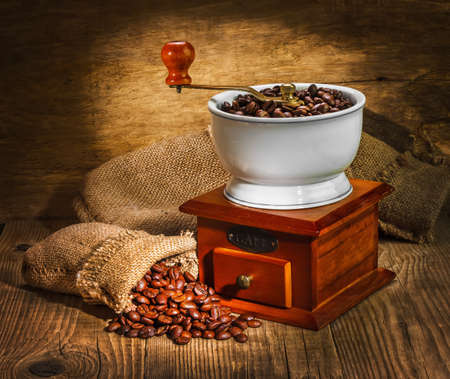 steaming coffee: grinder and other accessories for the coffee in an old-style Stock Photo