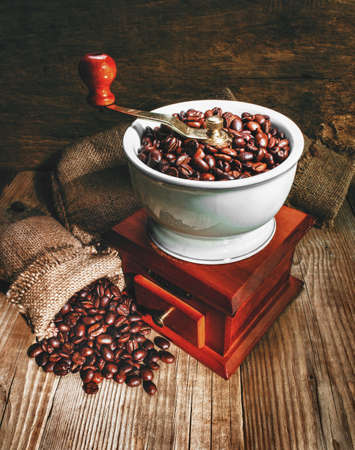 grinder and other accessories for the coffee in an old-style Stock Photo - 13419059