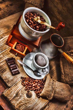steaming: grinder and other accessories for the coffee in an old-style Stock Photo