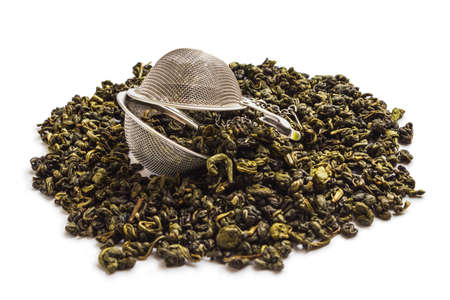 Tea strainer isolated on white background photo