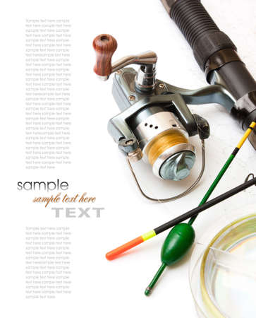 fishing gear: Fishing gear is isolated on a white background