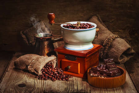 grinder and other accessories for the coffee in an old-style Stock Photo