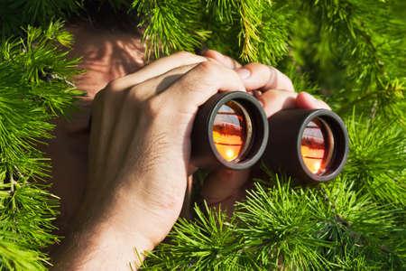 watching from the bushes with binoculars Standard-Bild