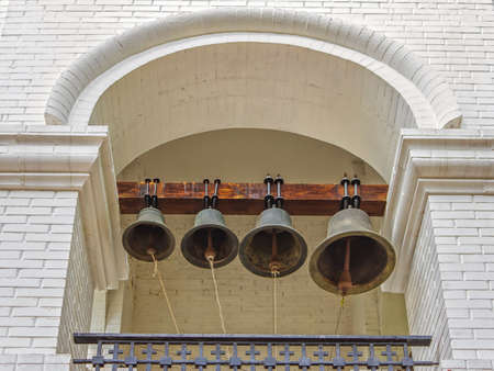 sonorous: Sonorous bells in the high bell tower Stock Photo