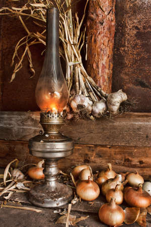 kerosene lamp in the interior of the barn Stock Photo - 16108905