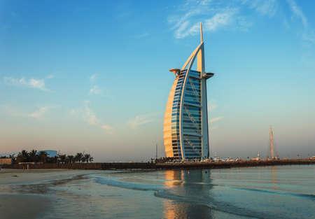 al: DUBAI, UAE - NOVEMBER 15: Burj Al Arab hotel on Nov 15, 2012 in Dubai. Burj Al Arab is a luxury 7 stars hotel built  in front of Jumeirah beach. Editorial