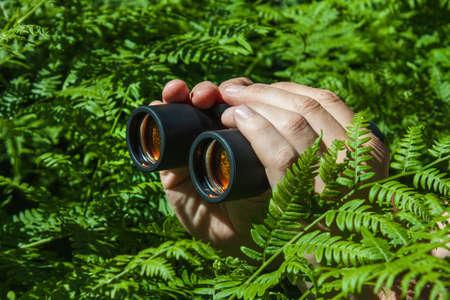 Binoculars in hand peeking from the bushes