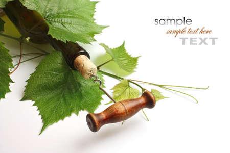 Korkenzieher und Korken aus einer Flasche Wein