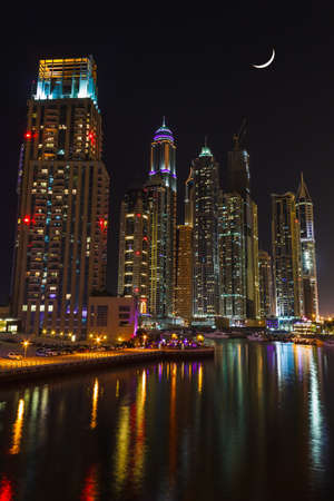 DUBAI, UAE - NOVEMBER 14: Nightlife in Dubai Marina. UAE. November 14, 2012 photo