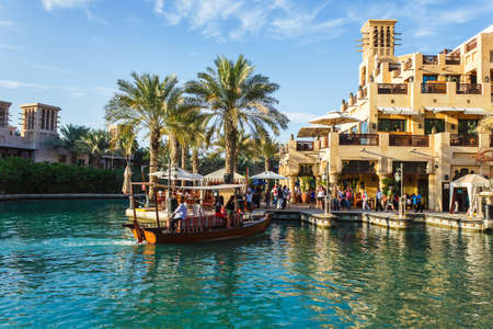 windtower: DUBAI, UAE - NOVEMBER 15: View of the  Souk Madinat Jumeirah. Madinat Jumeirah encompasses two hotels and clusters of 29 traditional Arabic houses.  Nov 15, 2012 in Dubai