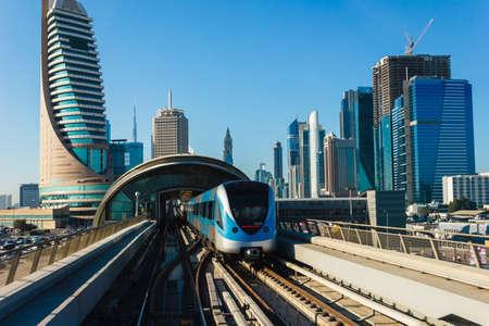 DUBAI, UAE - NOVEMBER 18: Dubai Metro as world's longest fully automated metro network (75 km) on November 18, 2012, Dubai, UAE.