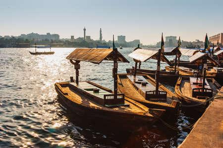 Boats on the Bay Creek in Dubai, UAE nov 13 2012 Editorial