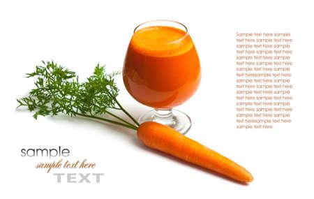 zanahorias: zanahorias y jugo de zanahoria en un vaso