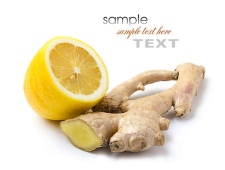 Ginger and lemon isolated on white background photo