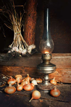 kerosene lamp in the interior of the barn photo