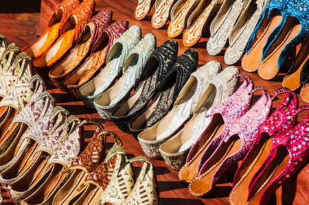 bazar: Womens summer shoes in the Eastern market in Dubai, United Arab Emirates Stock Photo
