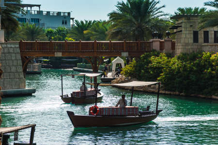 encompasses: DUBAI, UAE - NOVEMBER 15: View of the  Souk Madinat Jumeirah.Madinat Jumeirah encompasses two hotels and clusters of 29 traditional Arabic houses. Nov 15, 2012 in Dubai Editorial