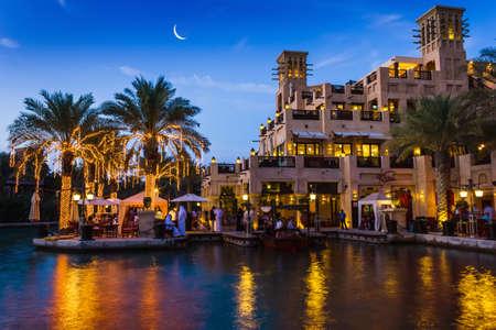 DUBAI, UAE - NOVEMBER 15: View of the  Souk Madinat Jumeirah.Madinat Jumeirah encompasses two hotels and clusters of 29 traditional Arabic houses. Nov 15, 2012 in Dubai Editorial