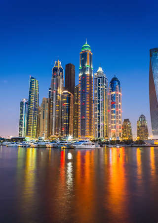 DUBAI, UAE - NOVEMBER 14: Nightlife in Dubai Marina. UAE. November 14, 2012. Dubai was the fastest developing city in the world between 2002 and 2008.