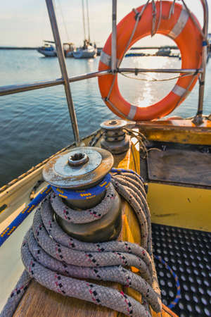 Life buoy attached to the cruise yacht photo