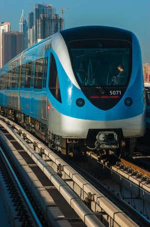 DUBAI, UAE - NOVEMBER 18: Dubai Metro. A view of the city from the subway car nov 18. 2012.  Dubai Metro as worlds longest fully automated metro network (75 km) on November 18, 2012, Dubai, UAE.