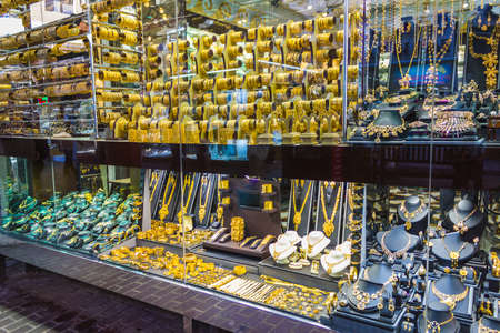 Gold decoration on display in a jewelry store in Dubai photo