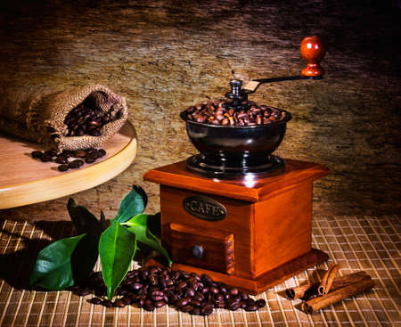 grinder and other accessories for the coffee in an old-style photo