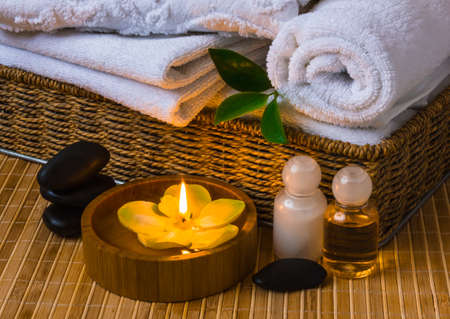 beauty spa: Spa with towels with a candle and other accessories