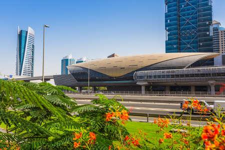 DUBAI, UAE - NOVEMBER 3: Dubai Metro as worlds longest fully automated metro network (75 km) on November 3, 2013, Dubai, UAE.