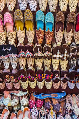 bastakiya: colorful shoes in souk Dubai,United Arab Emirates
