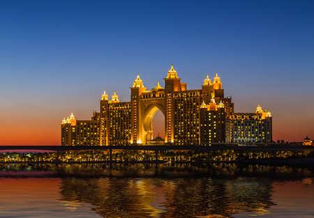 local landmark: DUBAI, UAE - NOVEMBER 7: Atlantis Hotel in Dubai. UAE. November 7, 2013. The newly opened multi-million dollar Atlantis Resort, Hotel & Theme Park at the Palm Jumeirah Island in Dubai. Editorial