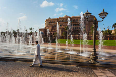 conceived: DUBAI - NOVEMBER 5: Emirates Palace in Abu Dhabi on November 5, 2013 in Dubai. Emirates Palace was originally conceived as a venue for government summits and conferences in the Persian Gulf Editorial