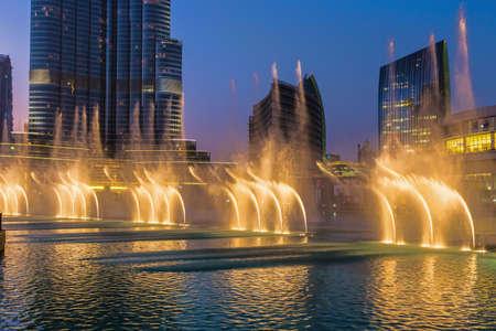 united arab emirate: DUBAI, UAE - November 31: A record-setting fountain system set on Burj Khalifa Lake, it shoots water 150 m into the air, at November 31, 2013 in Dubai, United Arab Emirate