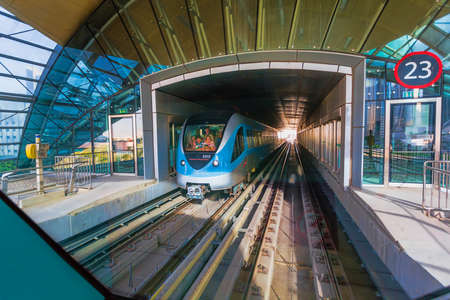 DUBAI, UAE - NOVEMBER 9: Dubai Metro as worlds longest fully automated metro network (75 km) on November 9, 2013, Dubai, UAE.