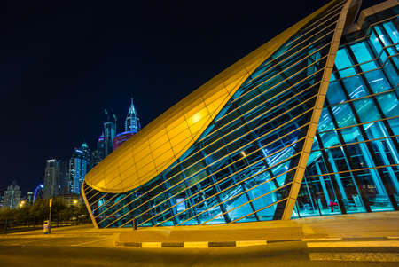 DUBAI, UAE - NOVEMBER 11: Dubai Metro as worlds longest fully automated metro network (75 km) on November 11, 2013, Dubai, UAE.