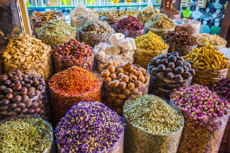 dried herbs flowers spices in the spice souq at Deira. UAE Dubai photo