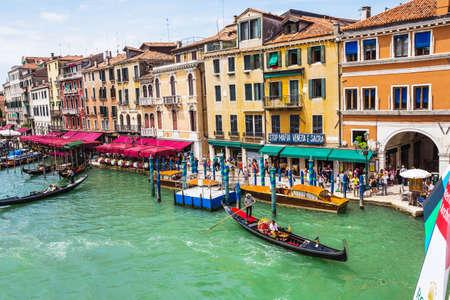 rialto: View of the Grand Canal from the Rialto Bridge. Venice