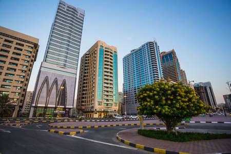 sharjah: Skyscrapers in Sharjah city. Khalid Lagoon.UAE.