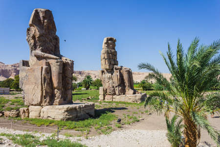 thebes: Colossi of Memnon, Valley of Kings, Luxor, Egypt, 2012 year Stock Photo
