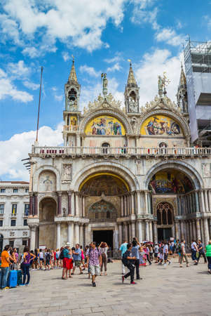 san marco: VENICE-JUNE, 26: San Marco Piazza in Venice on June, 26, 2014. San Marco Piazza is the most expensive part of the city, visiting millions a year.