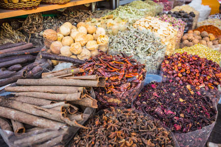 spice: dried herbs flowers spices in the spice souq at Deira. UAE Dubai