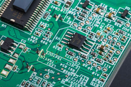 chipset: Close up of electronic circuit board macro
