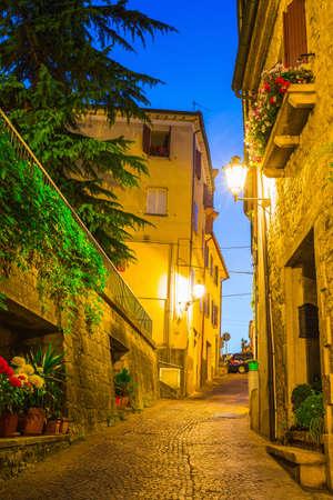 san marino: Evening street in the old town of San Marino, Italy