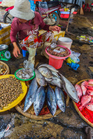Nha Trang, Vietnam. DEC, 1, 2014. Sale of fish and seafood in market. Nha Trang, Vietnam