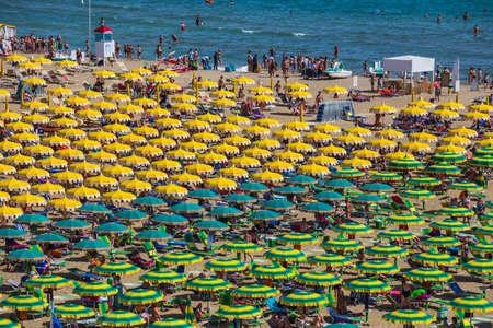 parasols: Large group of parasols at the beach of Rimini, Itali