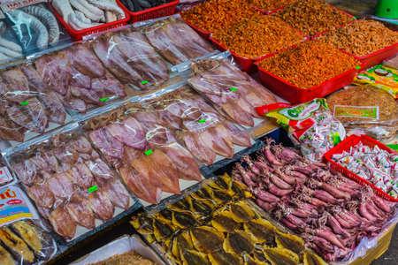 categorize: Nha Trang, Vietnam. DEC, 1, 2014. Sale of fish and seafood in market. Nha Trang, Vietnam