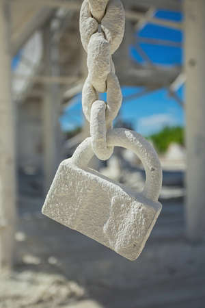 civilization: Lock in white chalk dust close-up. Urban civilization details