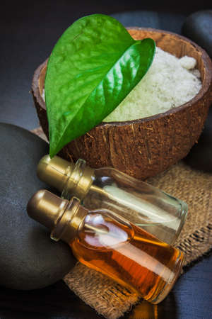 hot rock therapy: still-life subjects of relaxing spa treatments Stock Photo