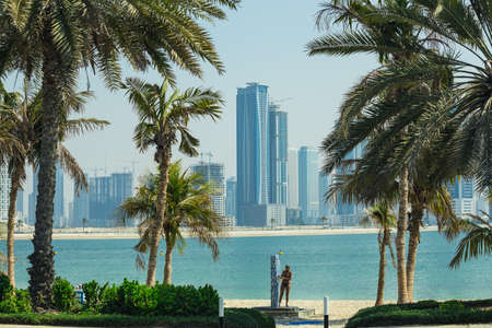 october 31: SHARJAH, UAE - OCTOBER 31: Sharjah - third largest and most populous city in United Arab Emirates, on October 31, 2013.  It is the most industrialized emirate in UAE.