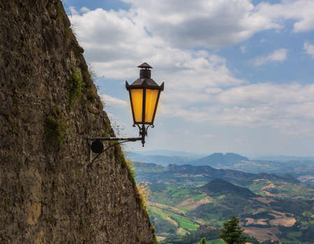 woll: SAN MARINO REPUBLIC - JUNE 22, 2014: The woll of Guaita fortress is the oldest and the most famous tower on San Marino. Stock Photo